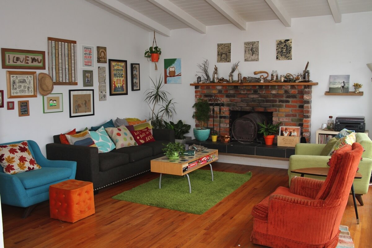 retro, vintage, livingroom, colorful