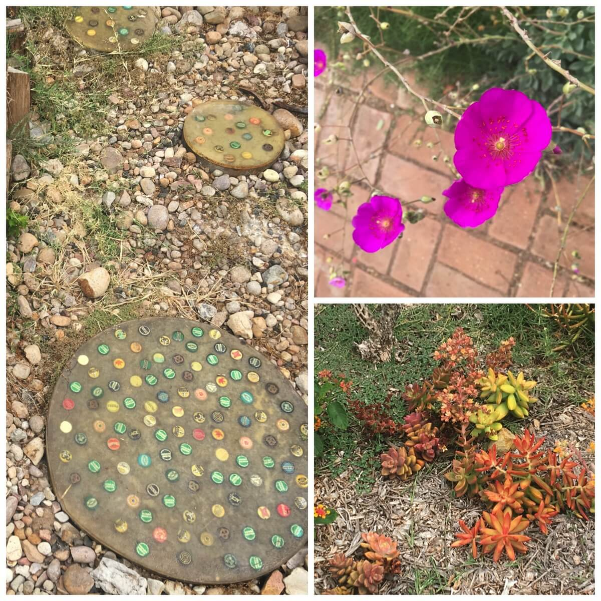 Our beer bottle top stepping stones