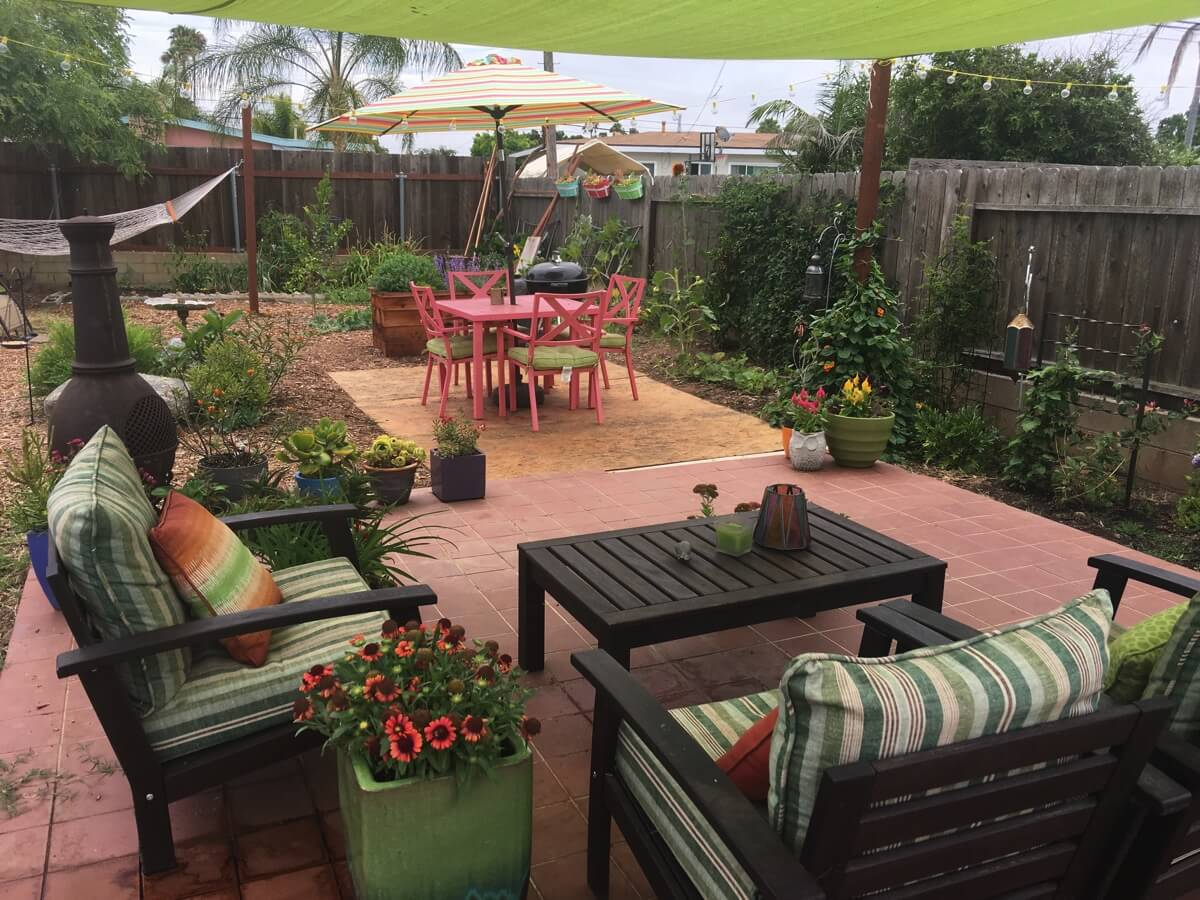 Garden Tour: A Relaxing Backyard Hangout in San Diego, Complete with a Hammock and BBQ Lounge Area