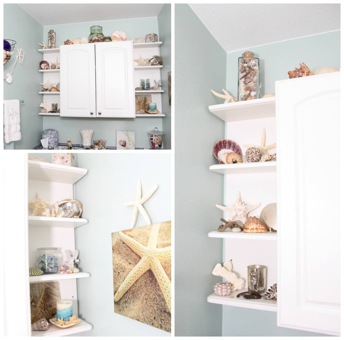Beach themed bathroom shelves