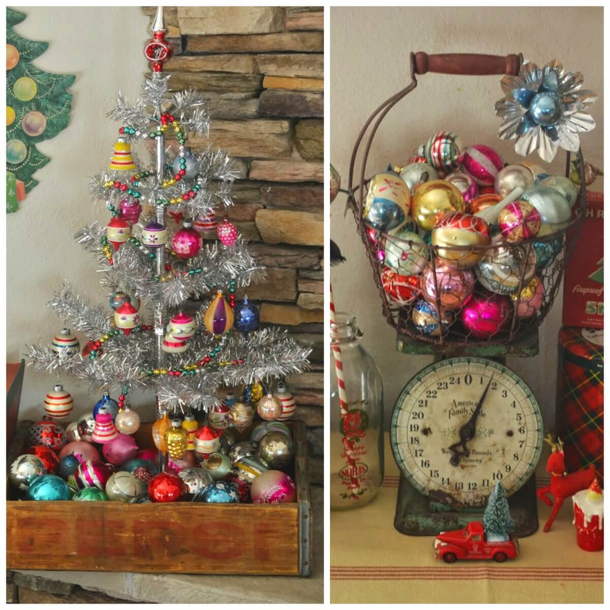 Colorful Christmas Tree Decorations.Colorful Vintage Christmas Decorations Inspiration Dig And