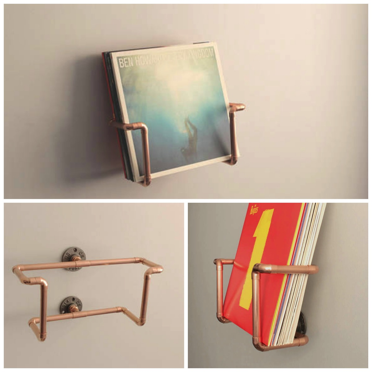 Copper pipe modern vinyl record holder