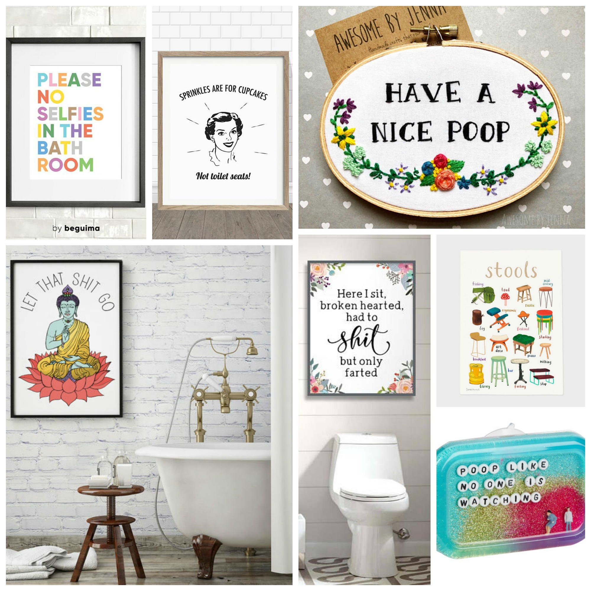 Awesomely Hilarious Bathroom Art For Your Home, Ultimate Bathroom Gallery Wall.