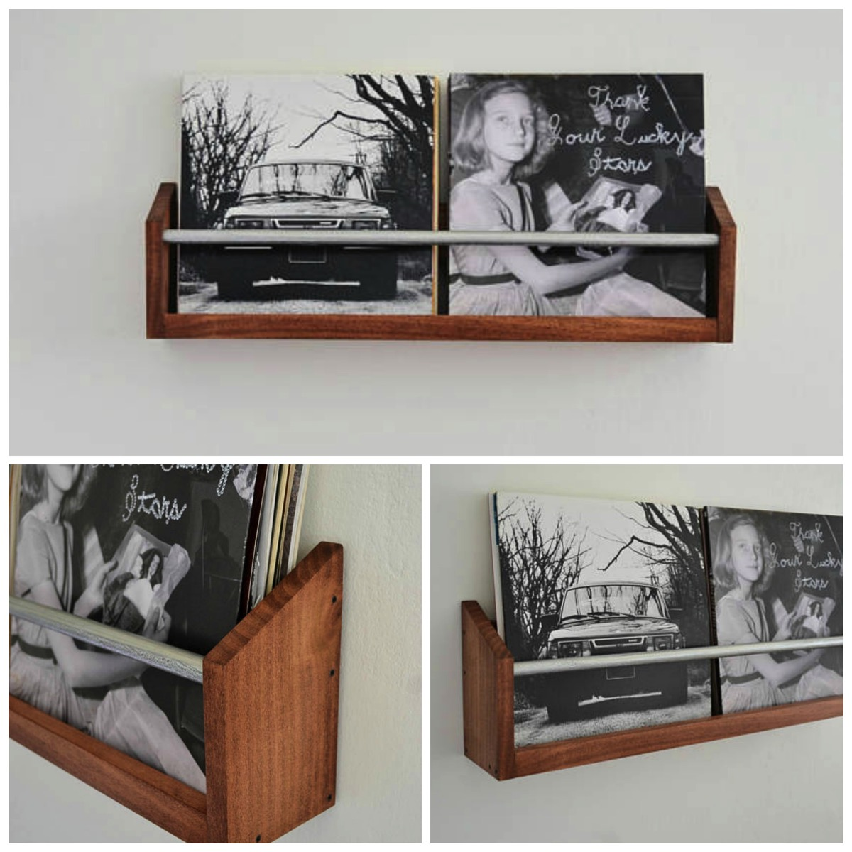 Wood and metal vinyl record wall holder