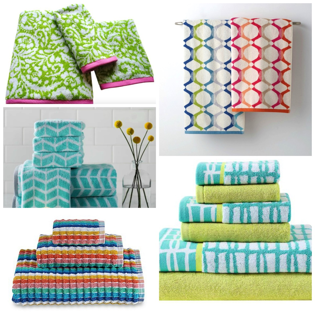 Bold and Colorfully Patterned Bathroom Towel Sets, Switch It Up With Something Other Than Solid Colors.