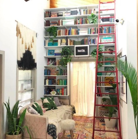 Jen streeter blissfully eclectic home tour colorful book shelf