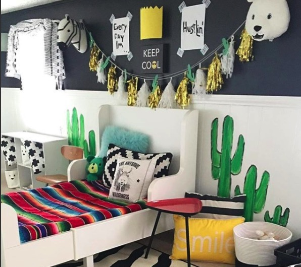 Jen streeter blissfully eclectic home tour colorful boys bedroom boho