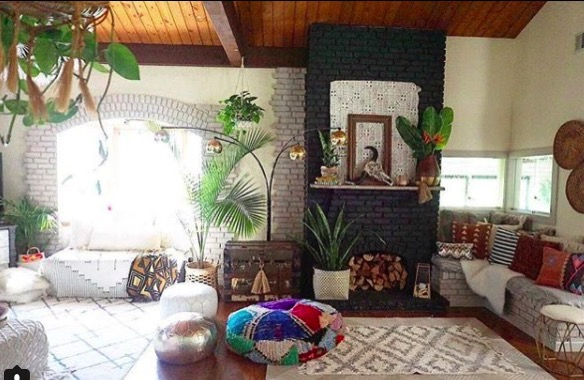 Jen streeter blissfully eclectic home tour colorful living room with plants