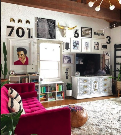 Jen streeter blissfully eclectic home tour colorful retro livingroom