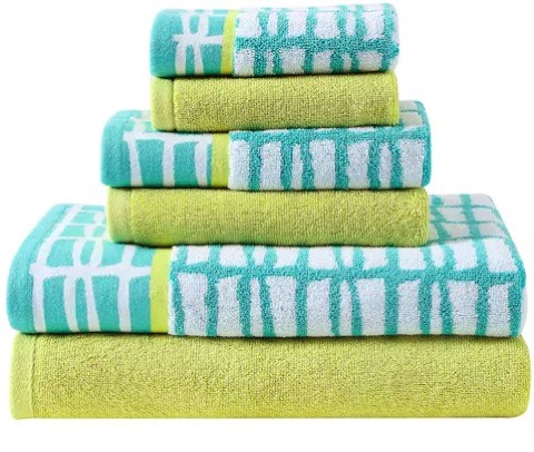 Light blue and yellow bath towels