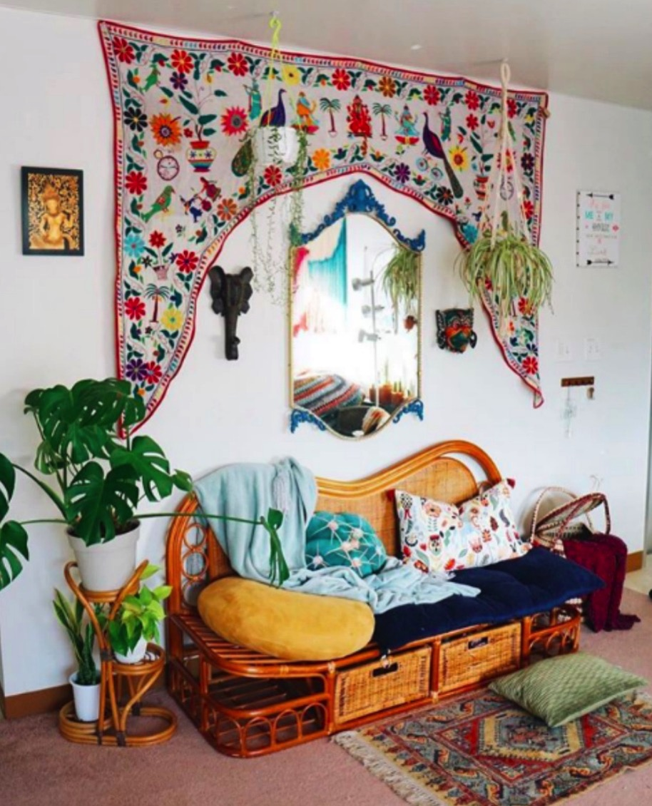Colorful bird tapestry in home