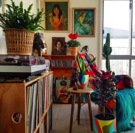 Colorful boho record player area