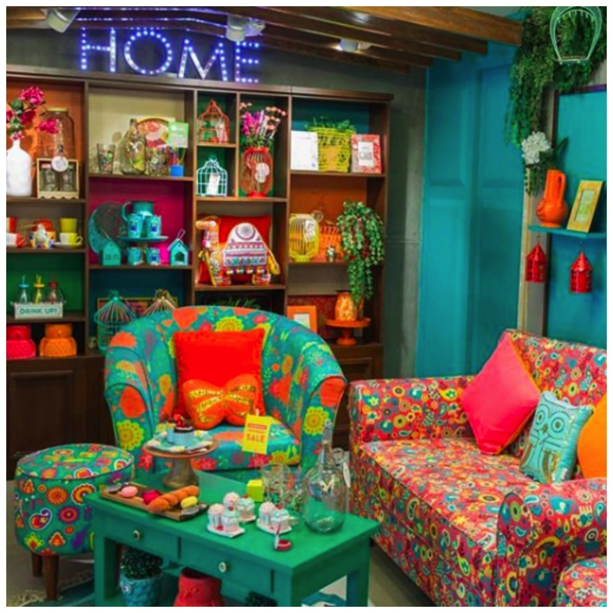 Colorful teal home