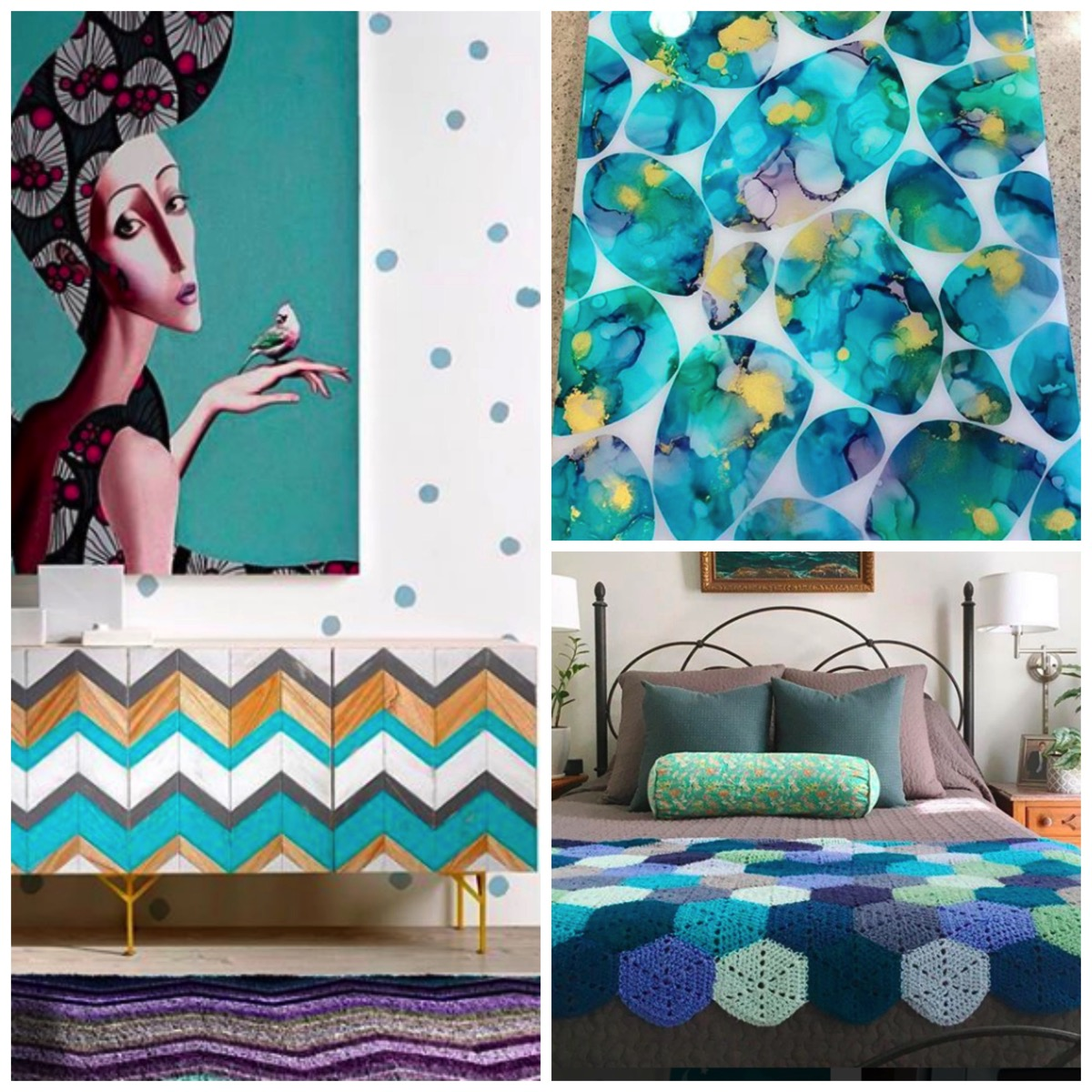 Colorful teal inspired home decor
