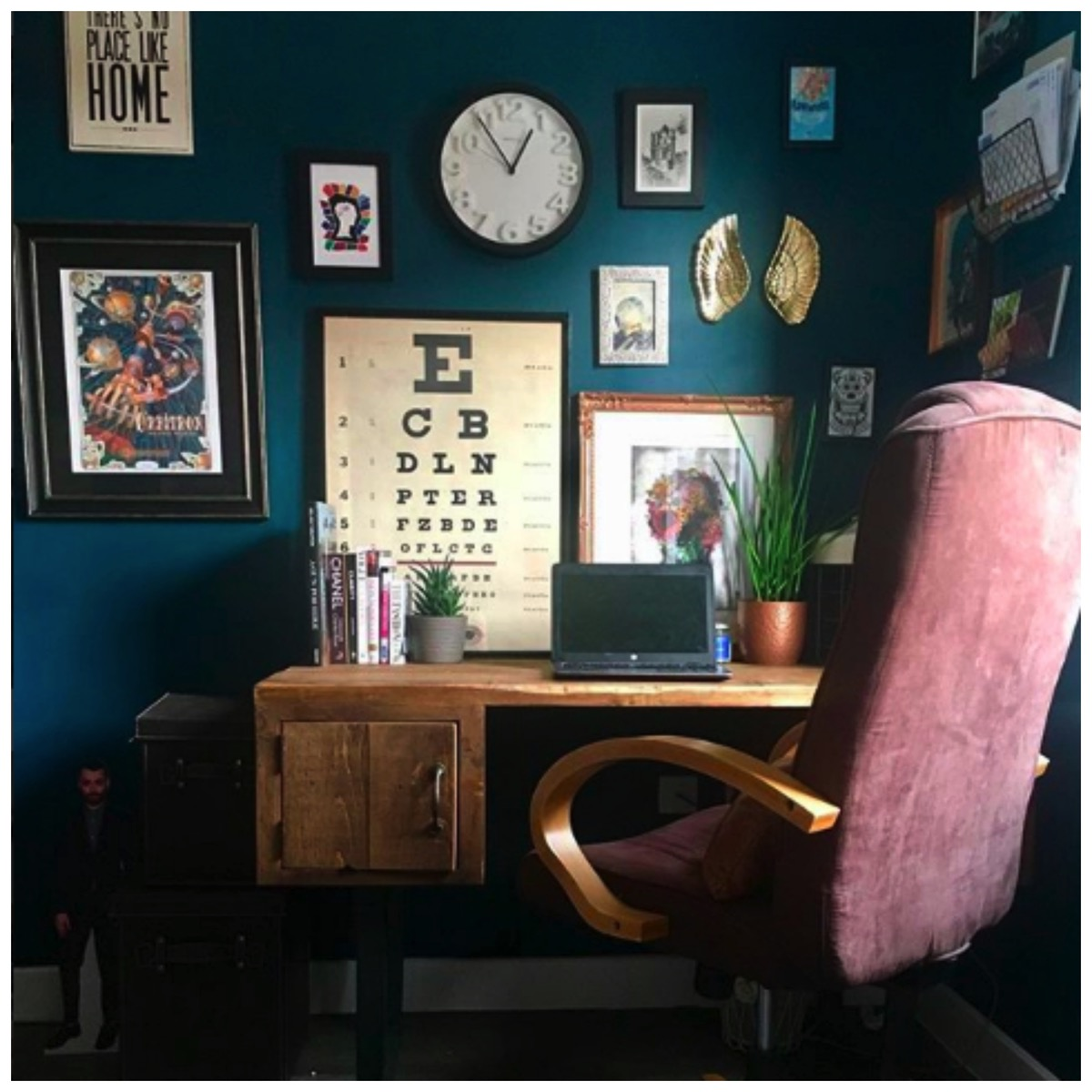 Dark teal colored home office