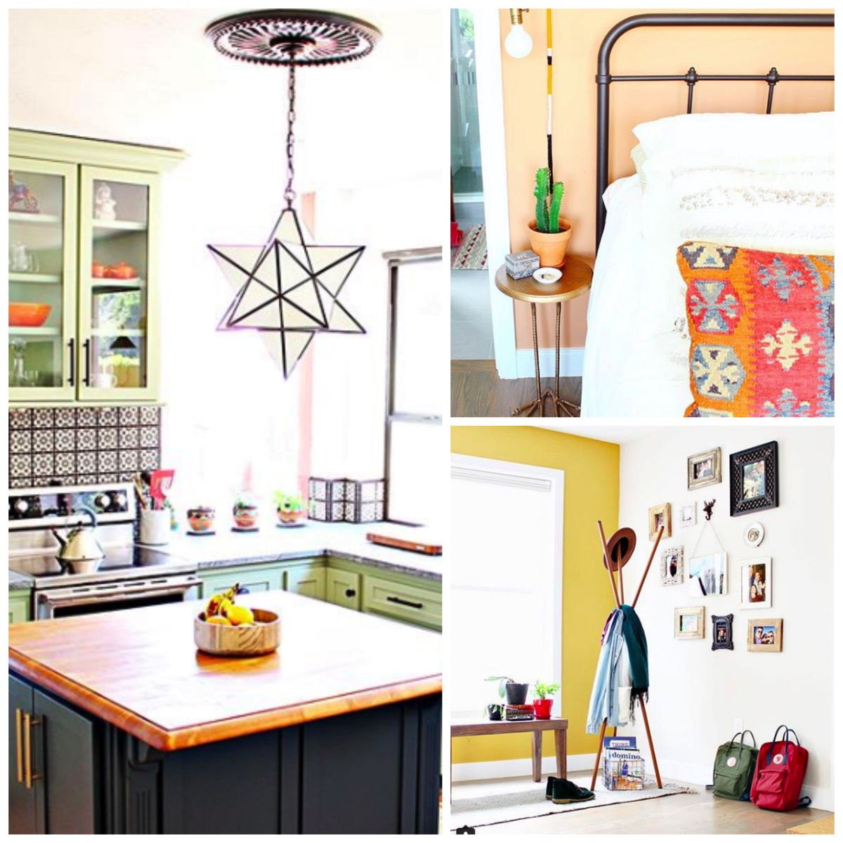 Home full of texture and colorful accents