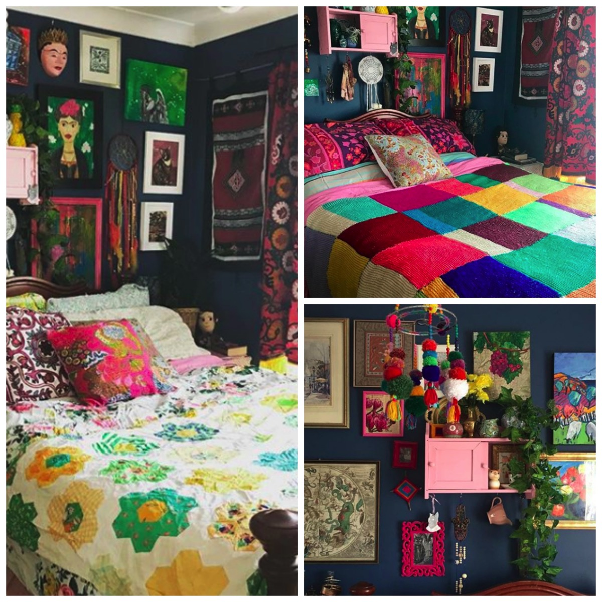 Colorful Boho Room: Home Tour: Colorfully Collected Boho Home Filled To The