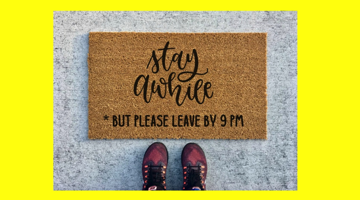 Stay awhile home welcome mat