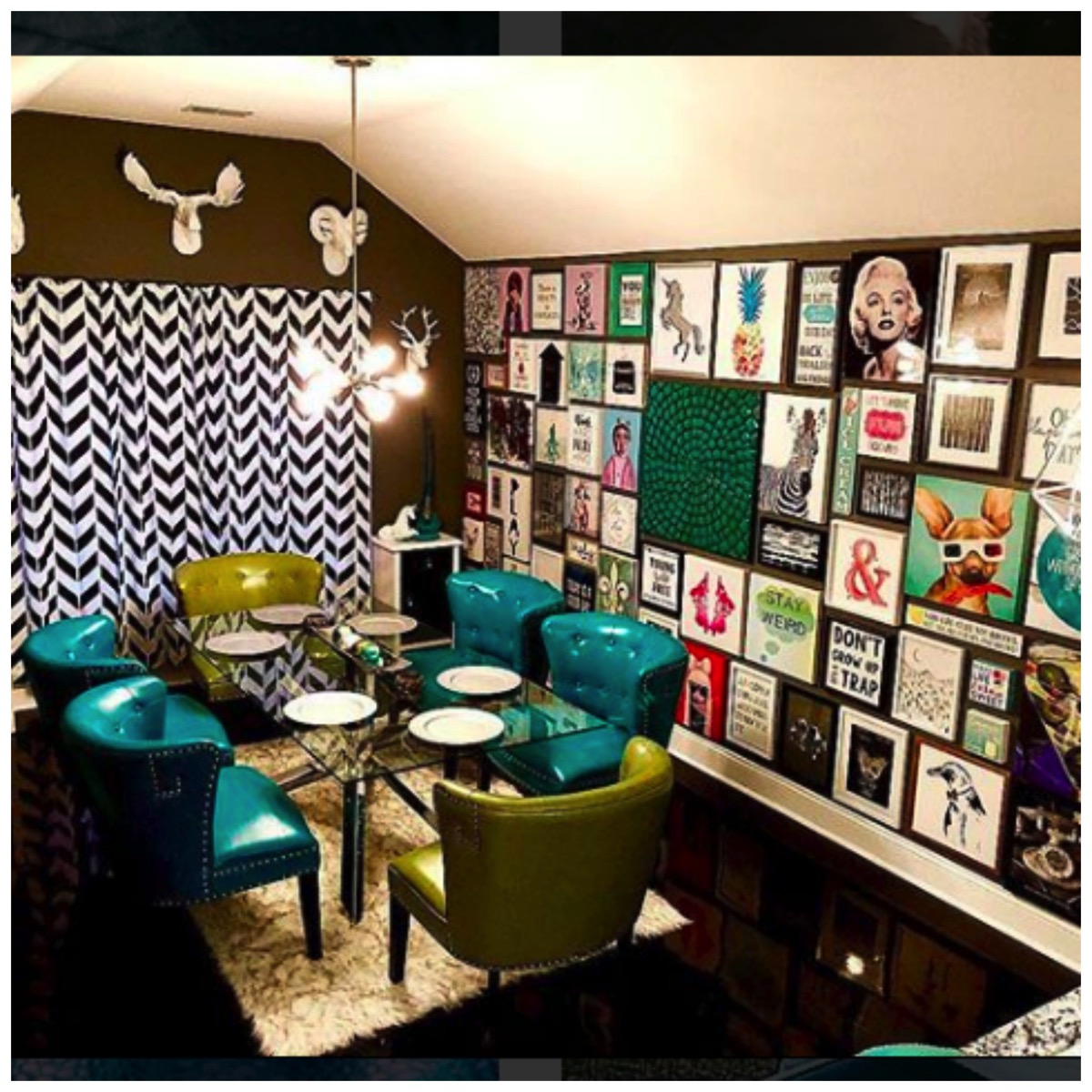 Teal kitchen chairs and dinning room gallery wall