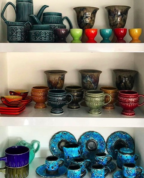 Colorful collection of cups vintage thrift stuart eminson
