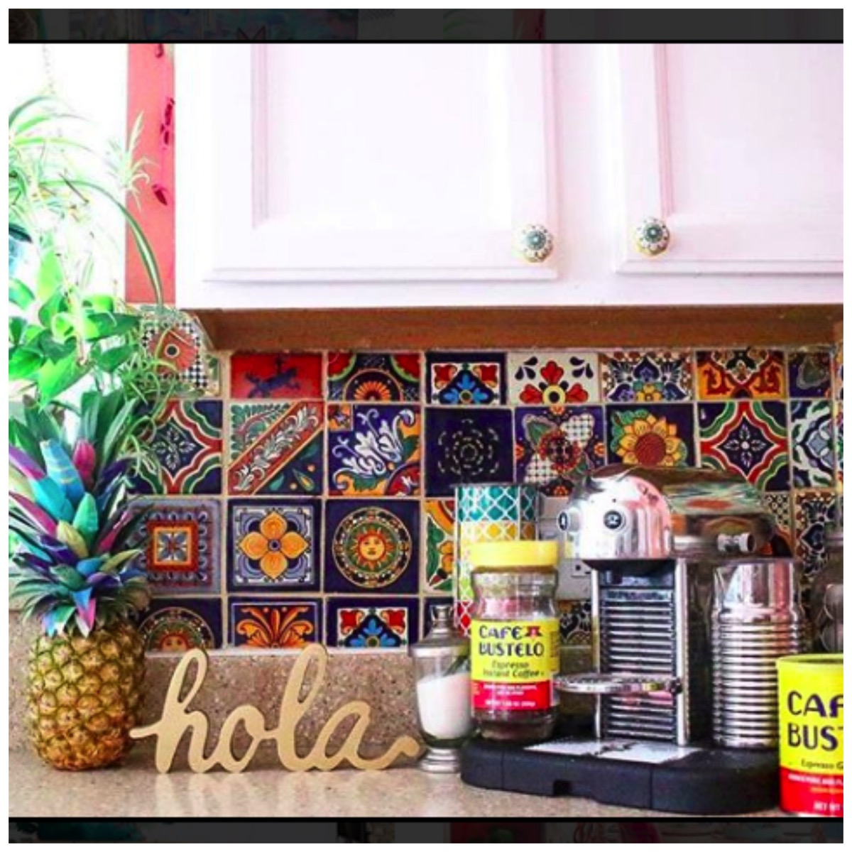 Colorful spanish tile boho kitchen