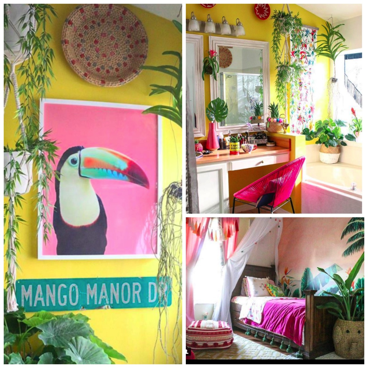 Pink and yellow boho beach house