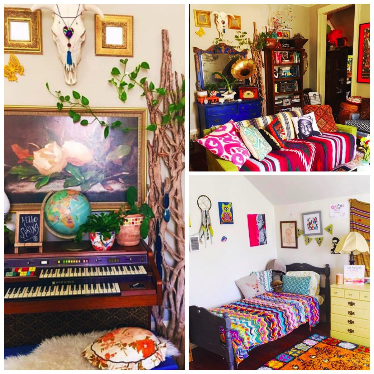 Thrifty Hippie colorful boho home decor vintage