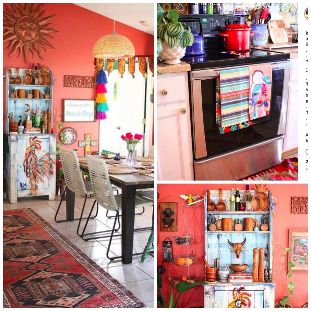 Vibrant colorful boho beach house orange color