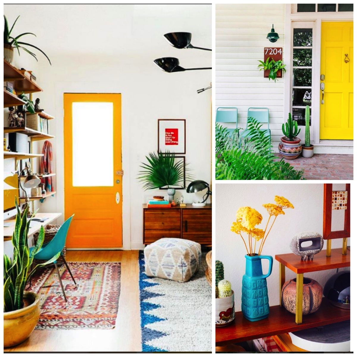 Bright yellow front door colorful home decor ideas dabito