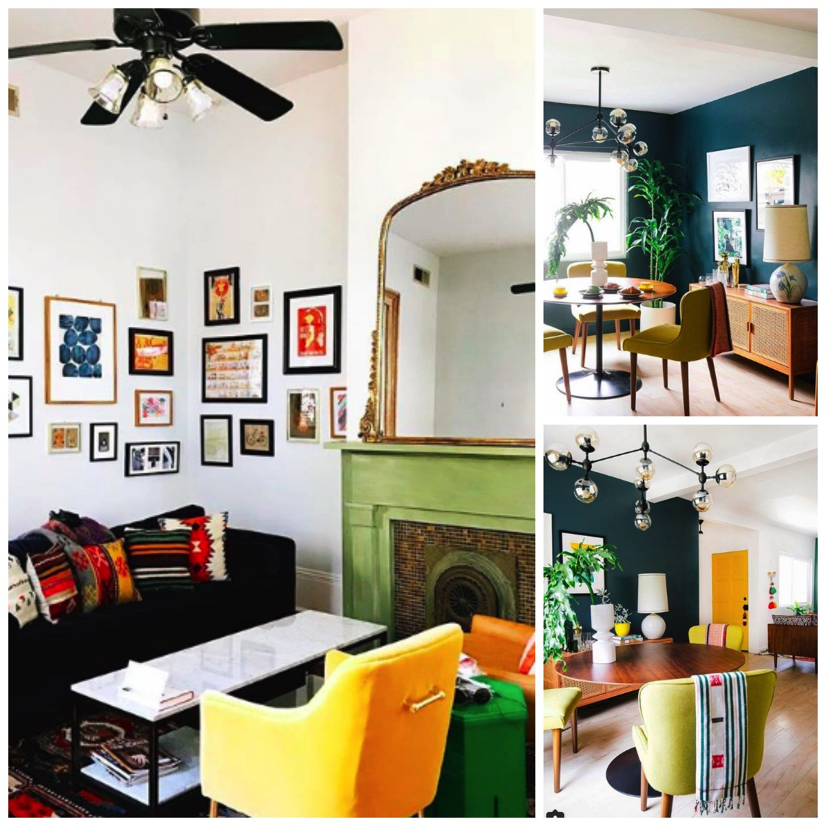 Dabito home tour galllery wall teal livingroom