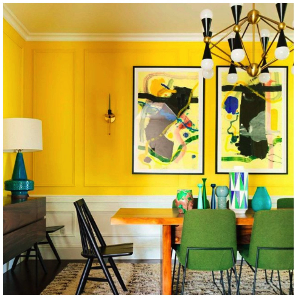 Dabito yellow retro modern dining room