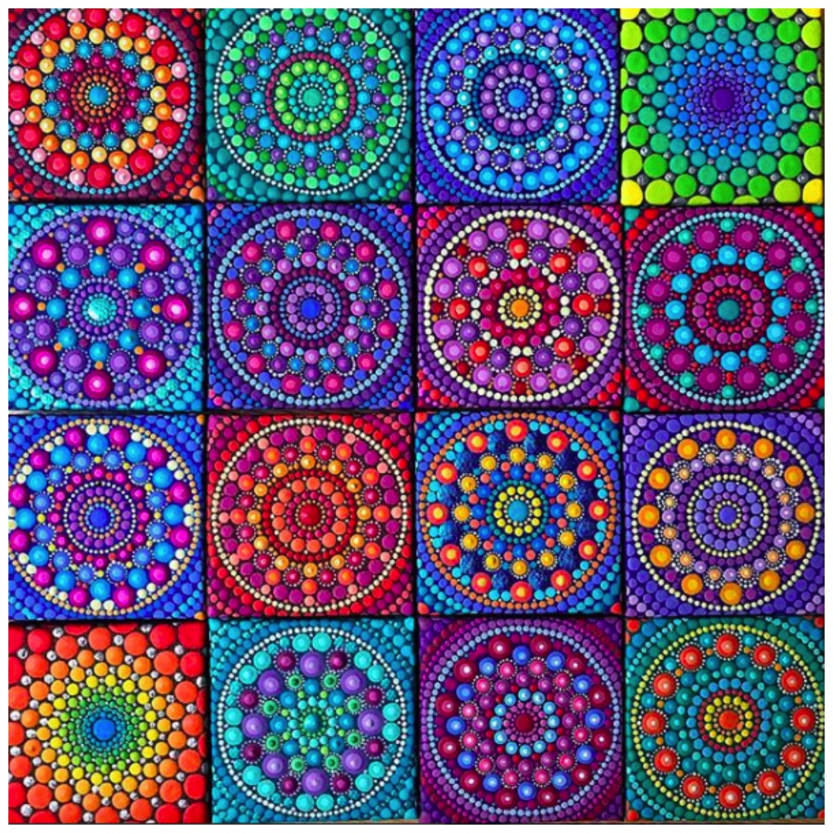 Colorful mandala collage boho style