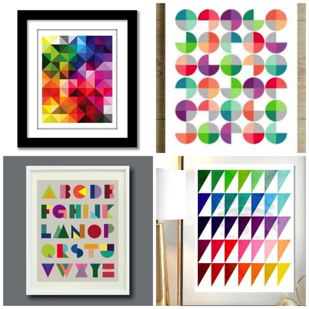 Colorful unique bold abstract geometric artwork from etsy for home decor