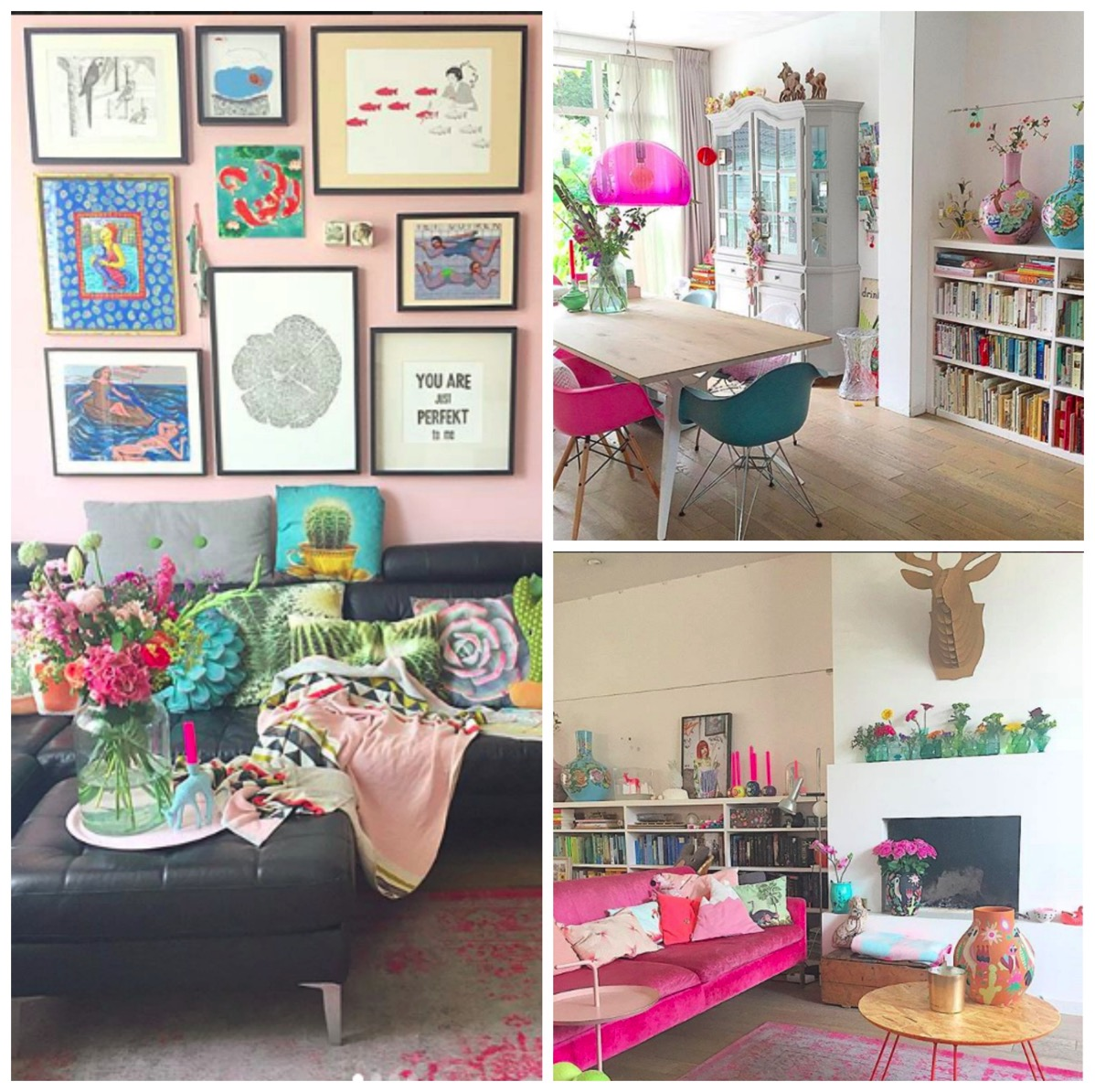 Pink and colorful home gallery wall and livingroom