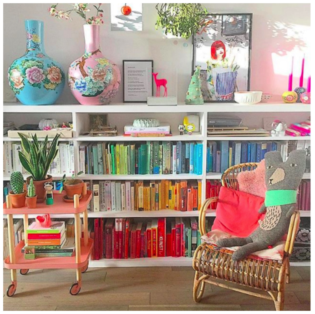 Rainbow colored bookshelf livingroom