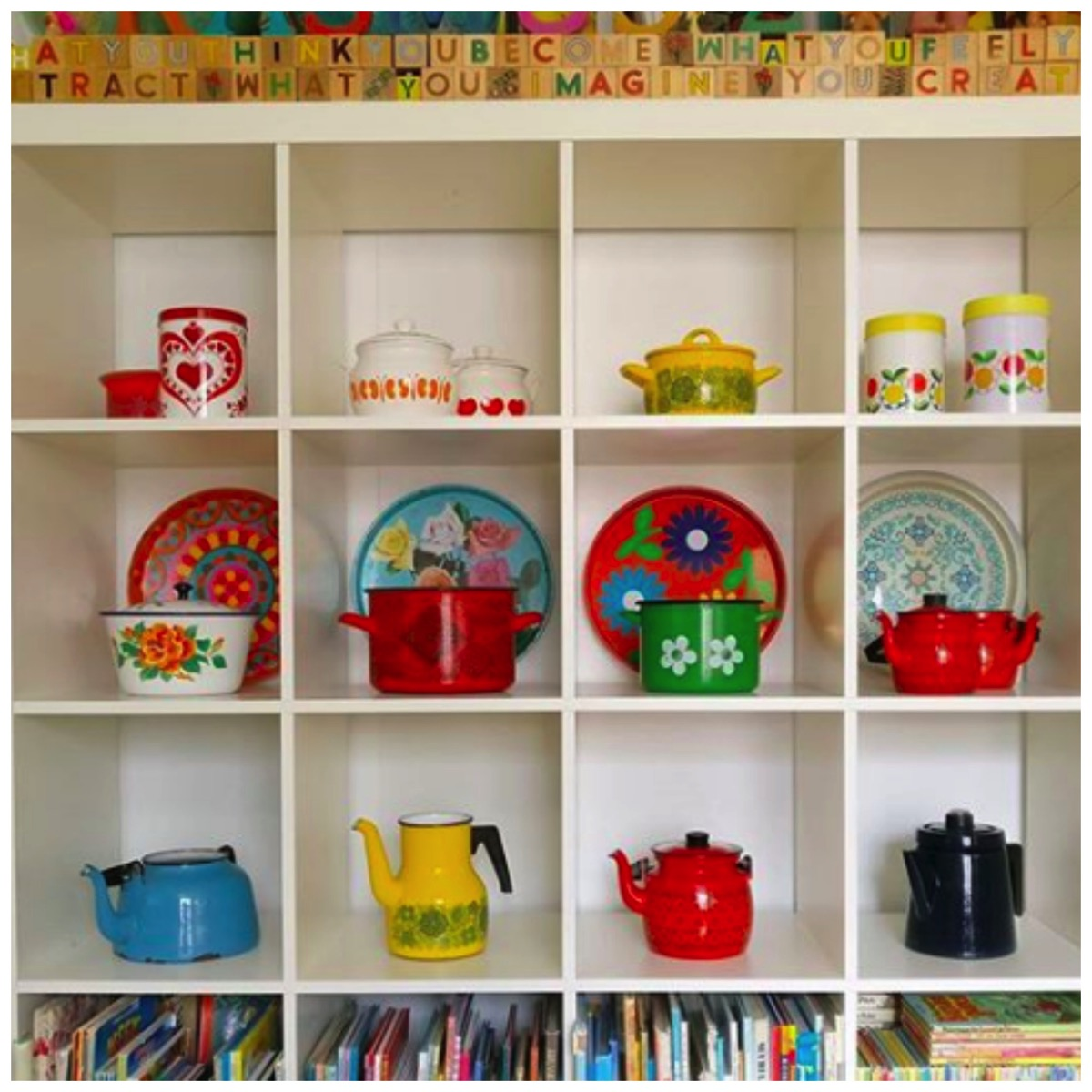 Colorful retro vintage shelfie