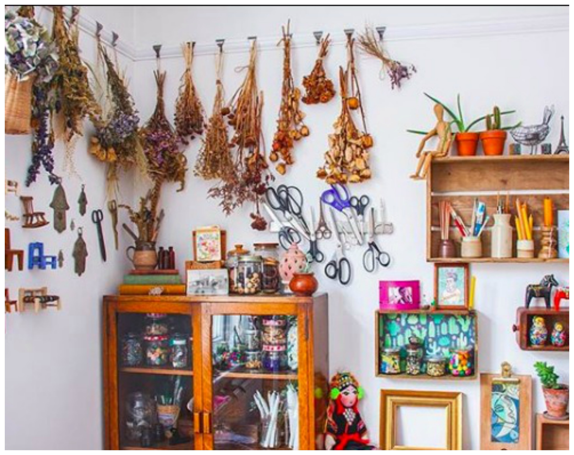 Home Tour: Betina's Colorful Boho Home and Craft Studio Full of Collections and Vintage Finds