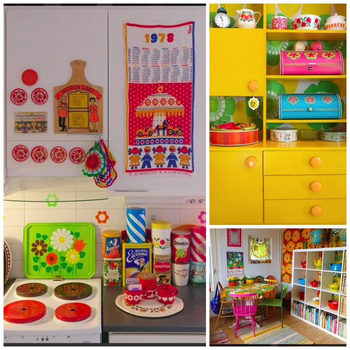 Vintage colorful kitchen and dining room