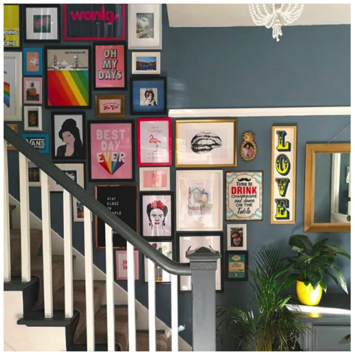 Amazing staircase gallery wall colorful gallery wall upcycled home diy home gallery wall flawsomehome