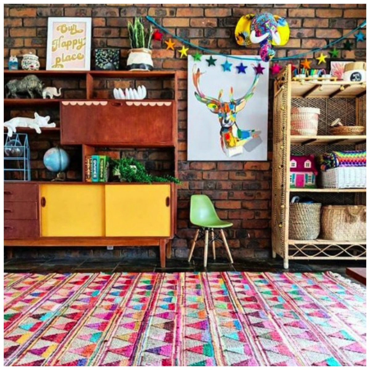 Brick wall colorful home decor hectic eclectic home tour dig and hang