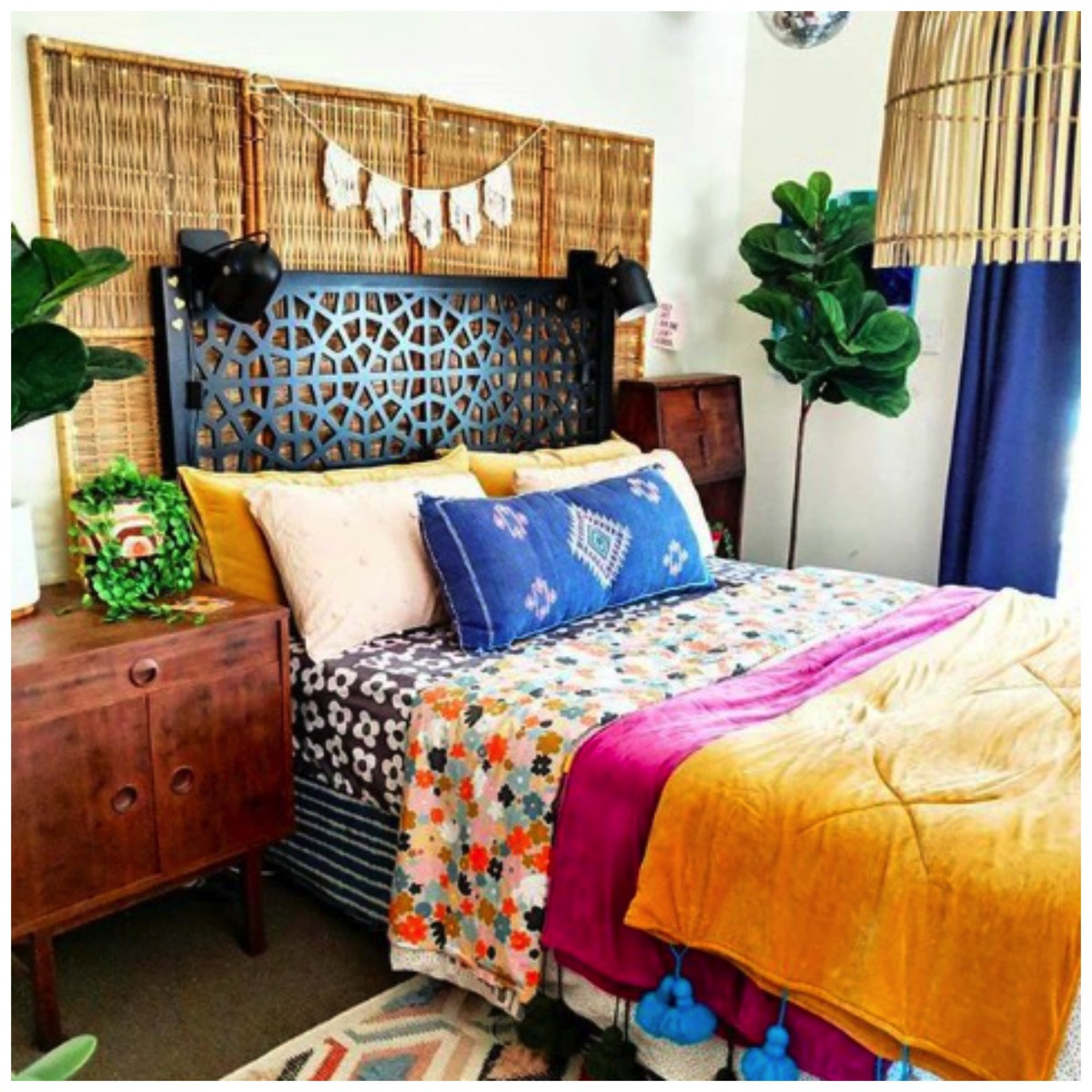 Colorful boho inspired bedroom hectic eclectic home tour dig and hang