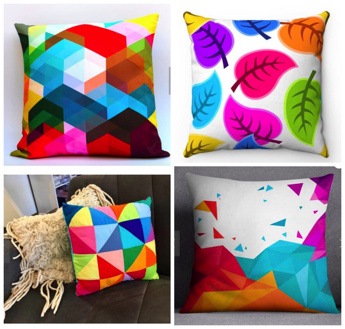 Colorful geometric decorative pillows for colorful bold eclectic home dig and hang