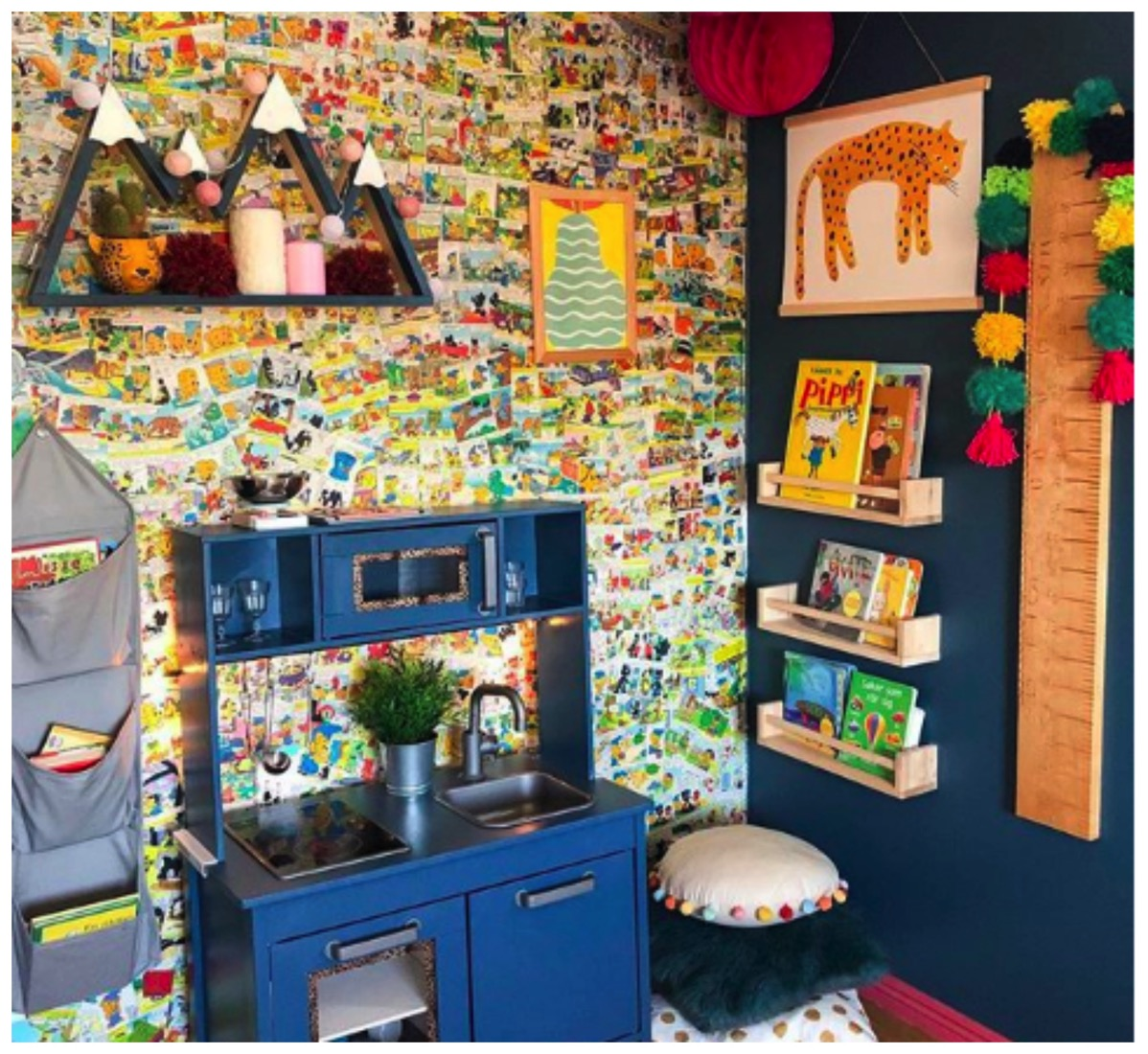 Colorful kids bed room kids kitchen area earthly urban design dig and hang colorful kid room