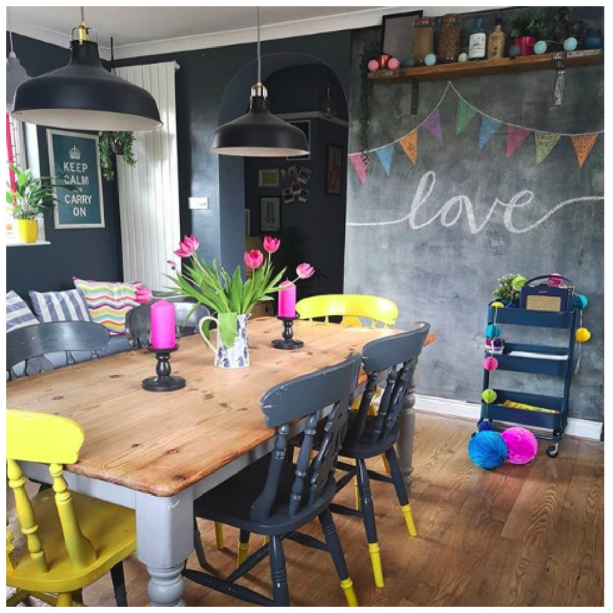 Colorful kitchen chalkboard wall idea farm house kitchen 1930s home vintage home flawsomehome
