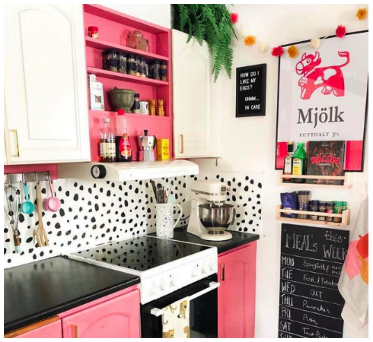 Colorful pink kitchen polka dot kitchen kitchen chalk board earthly urban design dig and hang