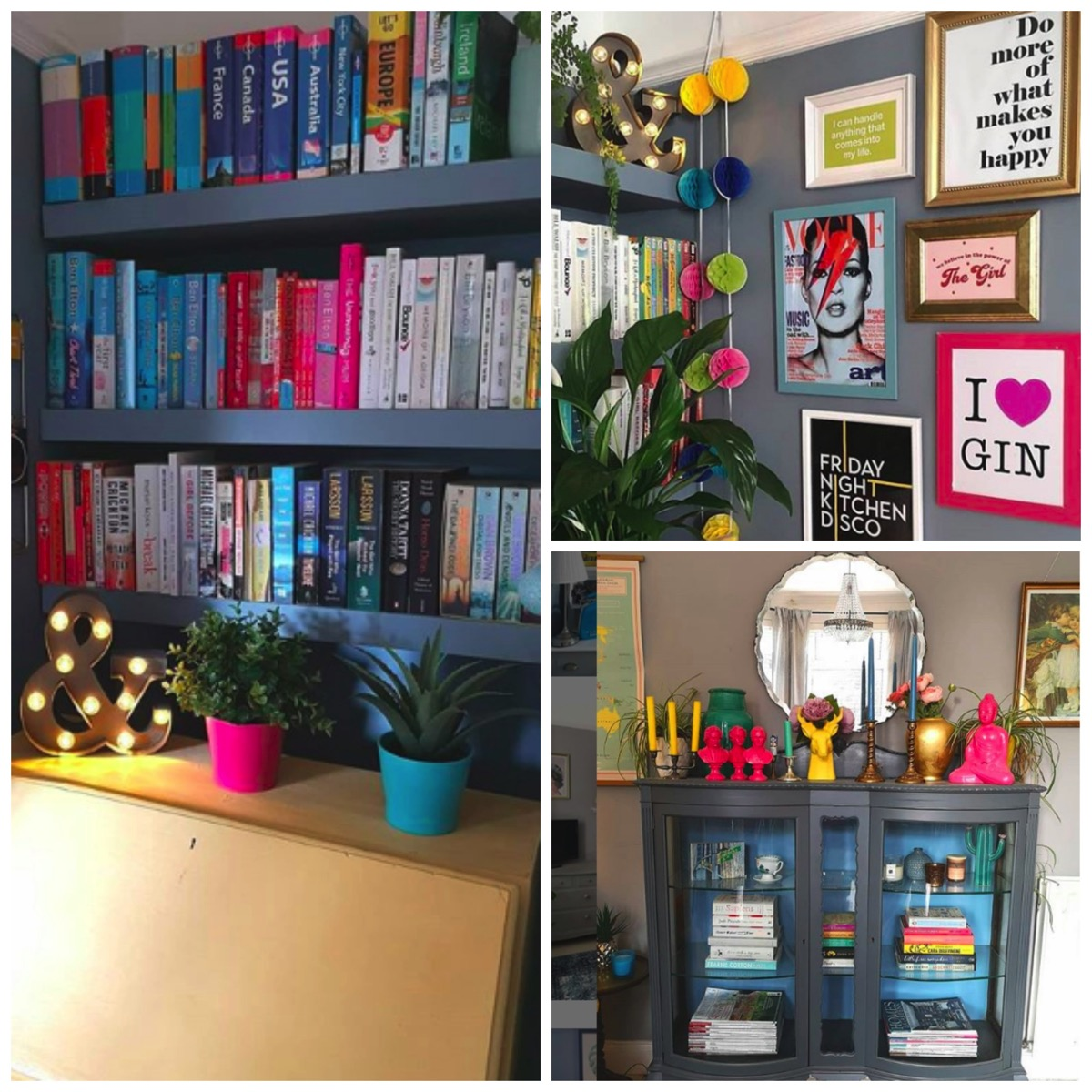 Colorful shelfie rainbow book shelf flawsome home northern ireland emma instagram