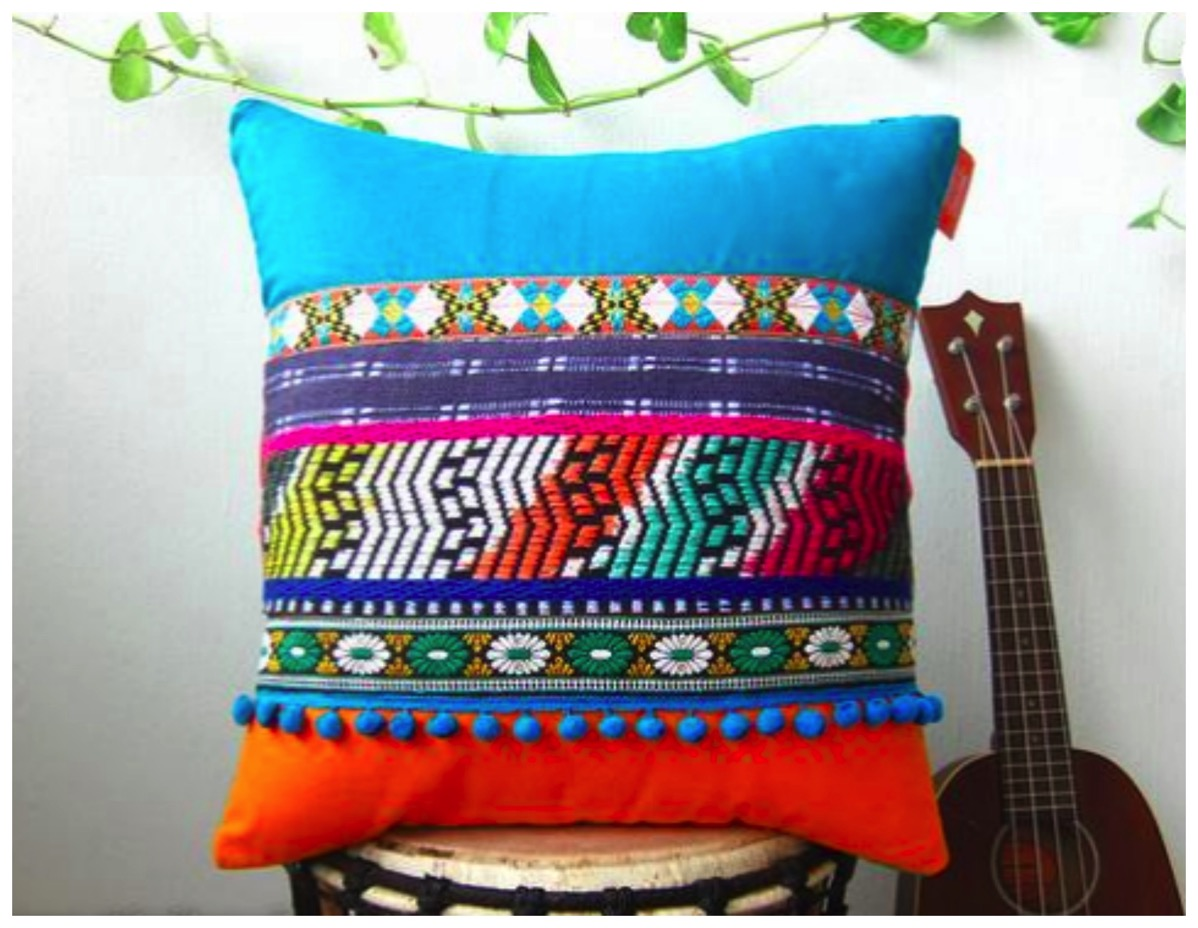 Girl with radio mind decorative pillows colorful boho pillows unique bold colorful pillow dig and hang decor
