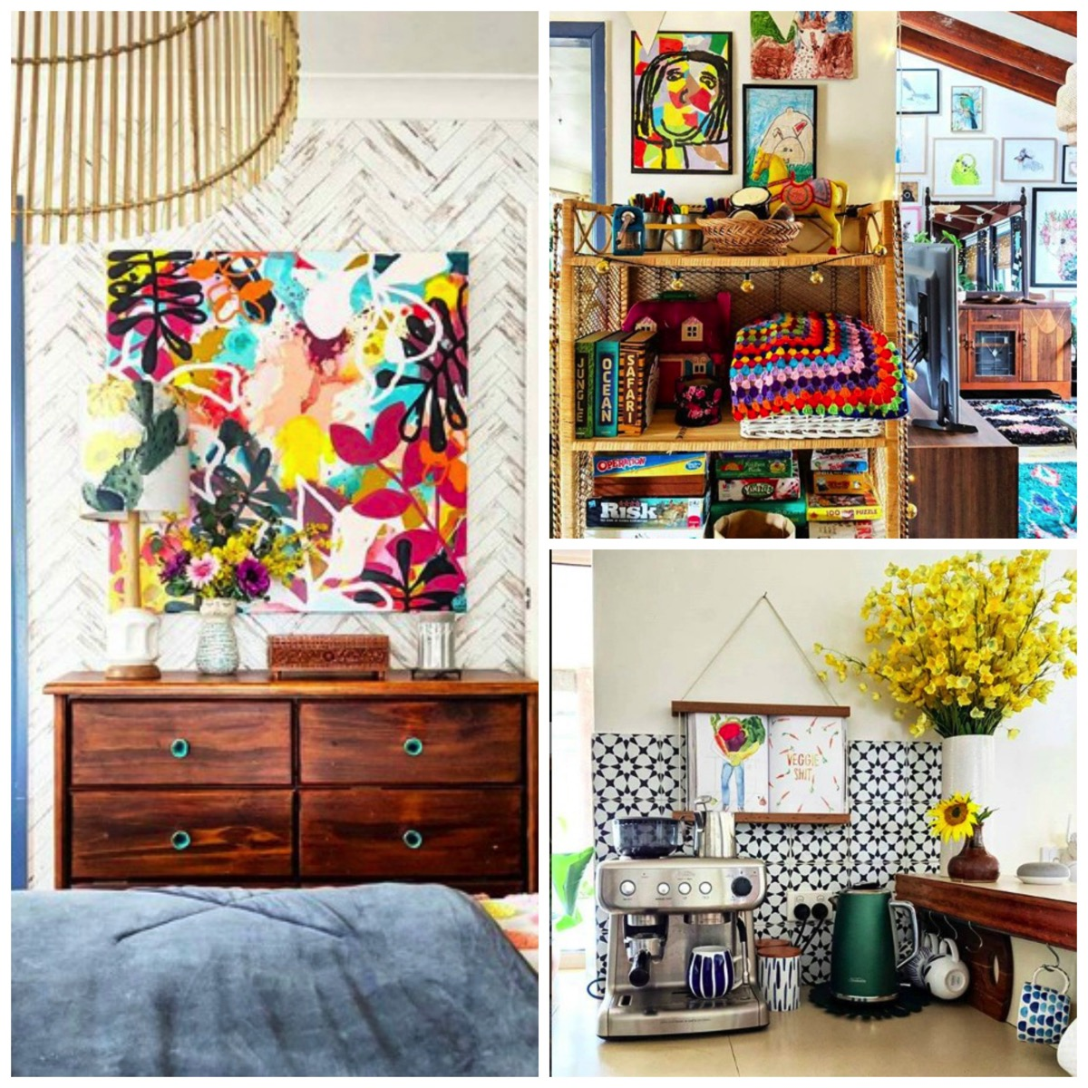Home tour of hectic eclectic colorful home artistic unique dig and hang