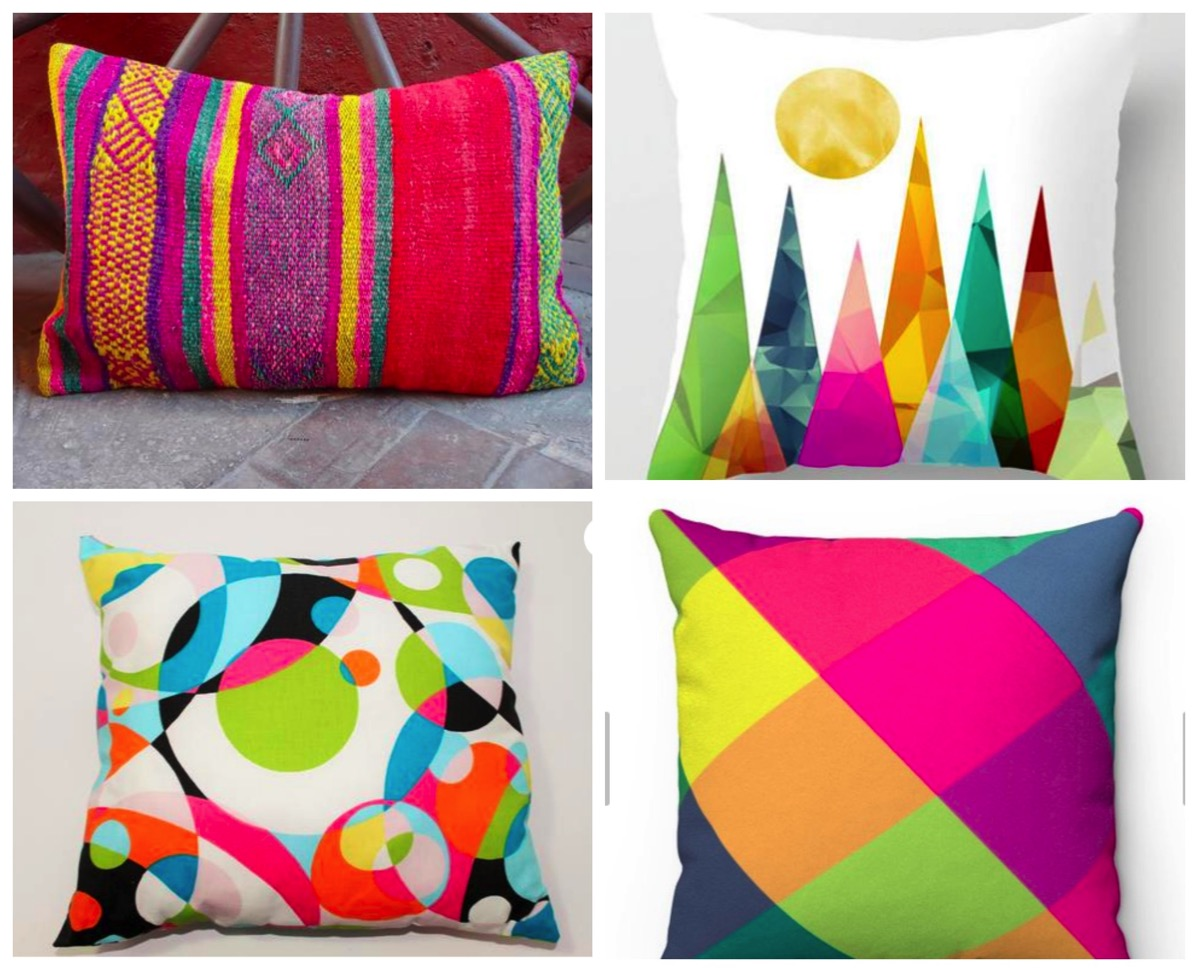 Most colorful and bright decorative home pillows list on dig and hang bold eclectic unique decorative pillows