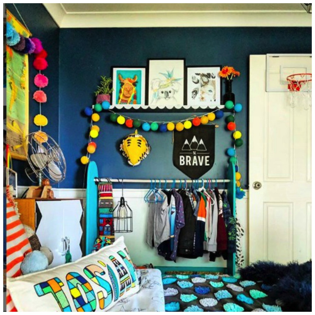 Unique and colorful blue boys room decor hectic eclectic home tour dig and hang